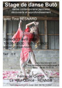 Buto, Butoh, Rennes, Tina, Besnard, Cours, stages, ateliers, enseignement, Ille et Vilaine, Paris, En chair et en son, Festival,